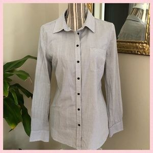 Gray & White Striped Long Sleeve Button Down